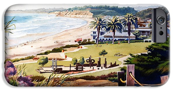 California Beach iPhone Cases - Powerhouse Beach Del Mar Lilac iPhone Case by Mary Helmreich