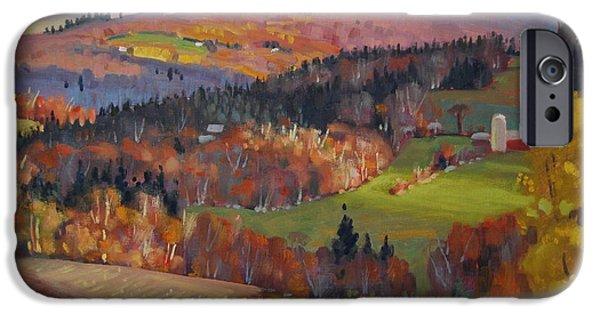 Autumn Scenes Paintings iPhone Cases - Pownel Vermont iPhone Case by Len Stomski