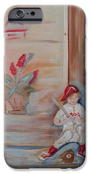 Baseball Glove Paintings iPhone Cases - Practice makes Perfect iPhone Case by Bobbi Groves