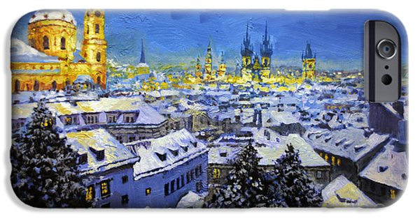 Roof iPhone Cases - Prague After Snow Fall iPhone Case by Yuriy Shevchuk