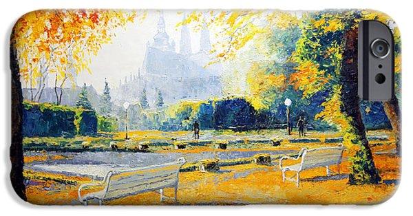 Prague Paintings iPhone Cases - Prague Autumn in the Kralovska Zahrada iPhone Case by Yuriy Shevchuk