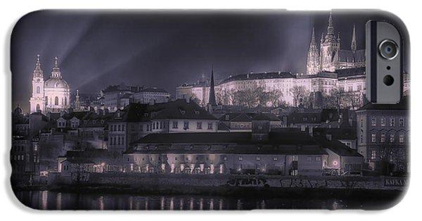 St Nicholas iPhone Cases - Prague Castle and St Nicholas iPhone Case by Joan Carroll