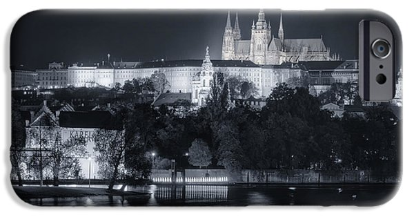 River View iPhone Cases - Prague Castle at Night iPhone Case by Joan Carroll