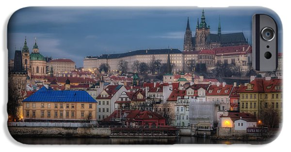 Charles River iPhone Cases - Prague Castle Dawn iPhone Case by Joan Carroll