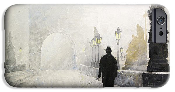 Morning Light Paintings iPhone Cases - Prague Charles Bridge Morning Walk 01 iPhone Case by Yuriy Shevchuk