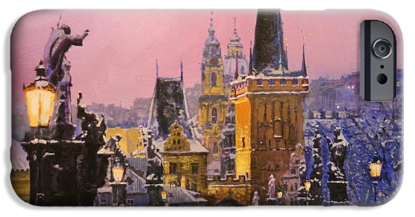 Evening Paintings iPhone Cases - Prague Charles Bridge  Winter Evening iPhone Case by Yuriy Shevchuk
