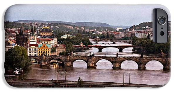 Charles Bridge Digital iPhone Cases - Prague Cityscape - Texture iPhone Case by Barry O Carroll
