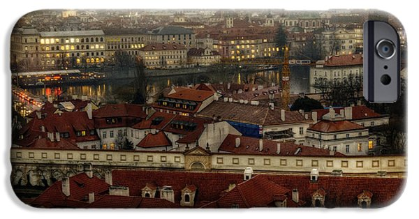 Charles River iPhone Cases - Prague Dusk iPhone Case by Joan Carroll
