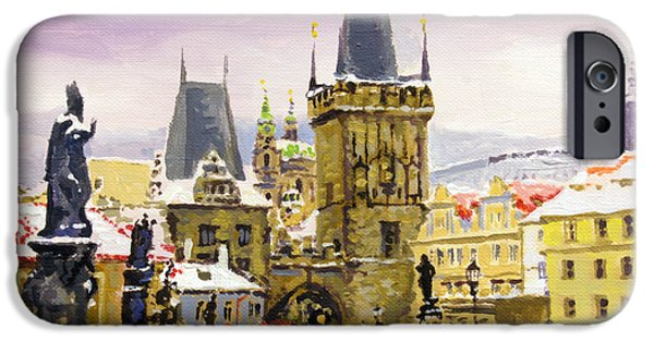 People iPhone Cases - Prague Gharles Bridge Winter iPhone Case by Yuriy Shevchuk