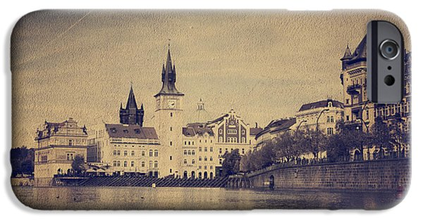 River Pyrography iPhone Cases - Prague iPhone Case by Jelena Jovanovic