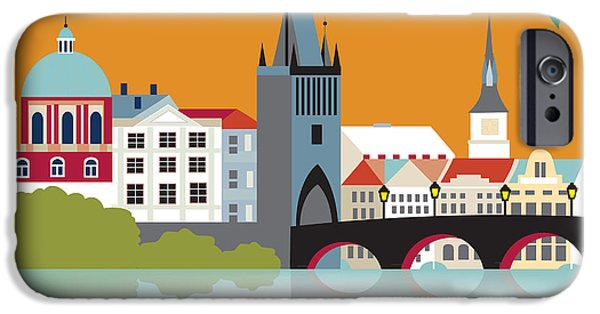 Prague Digital iPhone Cases - Prague iPhone Case by Karen Young