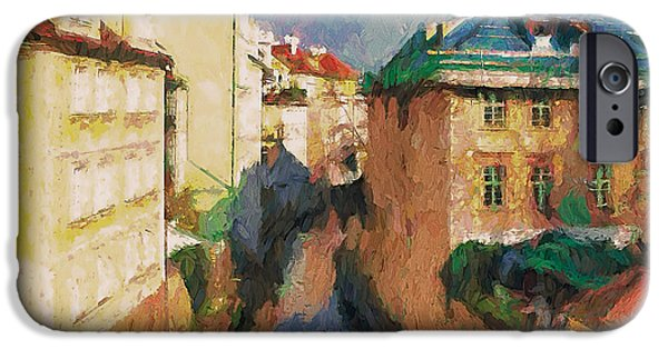 Prague Digital iPhone Cases - Prague like Venice 2 iPhone Case by Yury Malkov