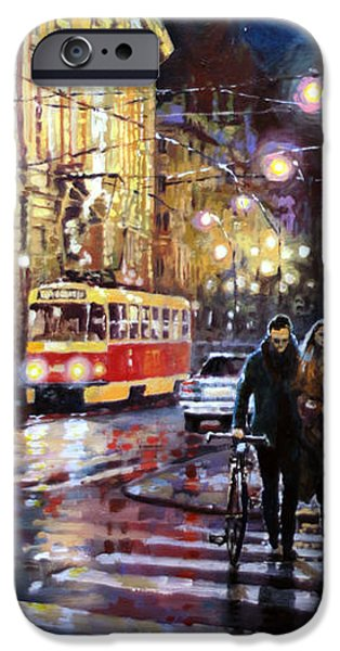 Town iPhone Cases - Prague Masarykovo Nabrezi Evening Walk iPhone Case by Yuriy Shevchuk
