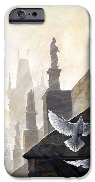 Morning Light Paintings iPhone Cases - Prague Morning on the Charles Bridge  iPhone Case by Yuriy Shevchuk