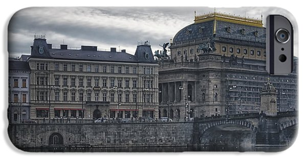 Charles River iPhone Cases - Prague National Theatre iPhone Case by Joan Carroll