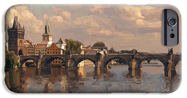 Czech Republic Digital iPhone Cases - Prague iPhone Case by Nop Briex