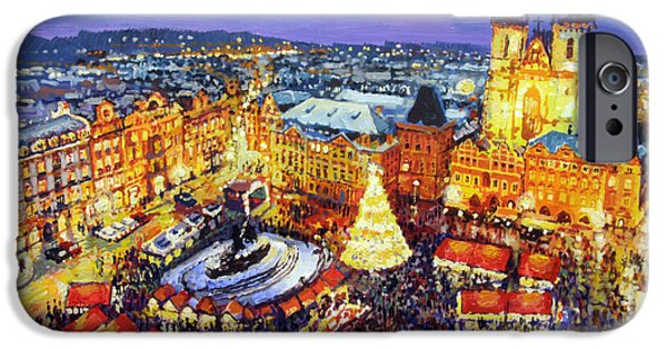 Town Paintings iPhone Cases - Prague Old Town Square Christmas Market 2014 iPhone Case by Yuriy Shevchuk
