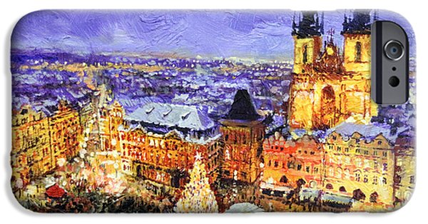 Old Towns iPhone Cases - Prague Old Town Square Christmas market iPhone Case by Yuriy Shevchuk