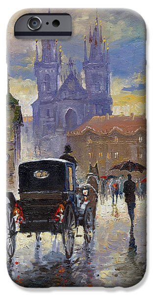 Town iPhone Cases - Prague Old Town Square Old Cab iPhone Case by Yuriy  Shevchuk