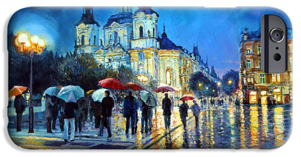 Umbrella iPhone Cases - Prague Old Town Square  view of street Parizska and St.Nicolas church iPhone Case by Yuriy Shevchuk