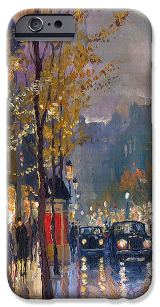 Raining iPhone Cases - Prague Old Vaclavske Square 01 iPhone Case by Yuriy  Shevchuk