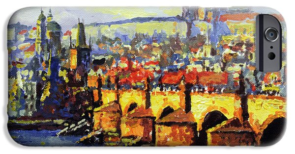 Best Sellers -  - Charles River iPhone Cases - Prague Panorama Charles Bridge iPhone Case by Yuriy Shevchuk
