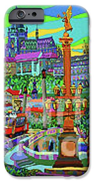 Decorative Mixed Media iPhone Cases - Prague Panorama with Manesuv Bridge iPhone Case by Yuriy  Shevchuk