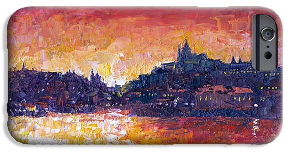 Oil On Canvas iPhone Cases - Prague Red Panorama iPhone Case by Yuriy Shevchuk