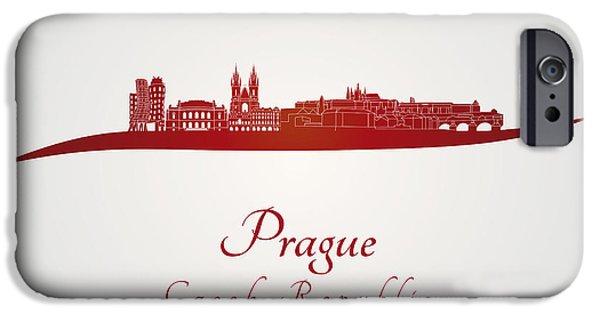Czech Republic Digital Art iPhone Cases - Prague skyline in red iPhone Case by Pablo Romero