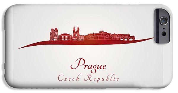 Prague Digital iPhone Cases - Prague skyline in red iPhone Case by Pablo Romero