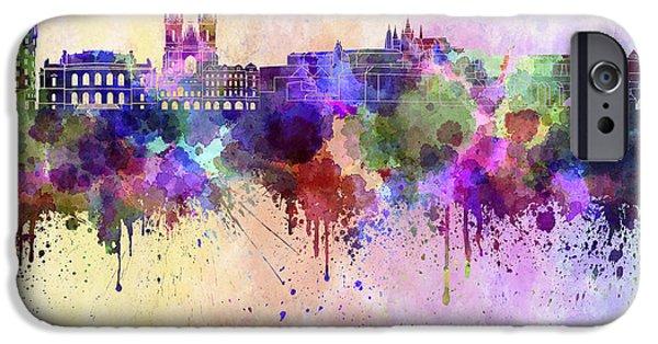 Czech Republic Digital Art iPhone Cases - Prague skyline in watercolor background iPhone Case by Pablo Romero