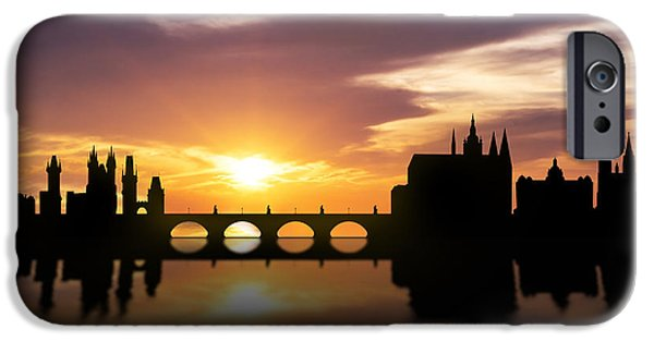Skyscraper Mixed Media iPhone Cases - Prague Sunset Skyline  iPhone Case by Aged Pixel