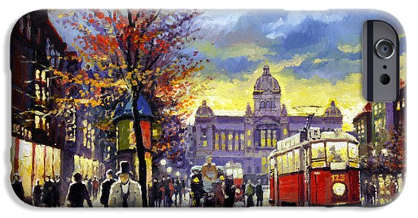 Oil On Canvas iPhone Cases - Prague Vaclav Square Old Tram Imitation by Cortez iPhone Case by Yuriy  Shevchuk