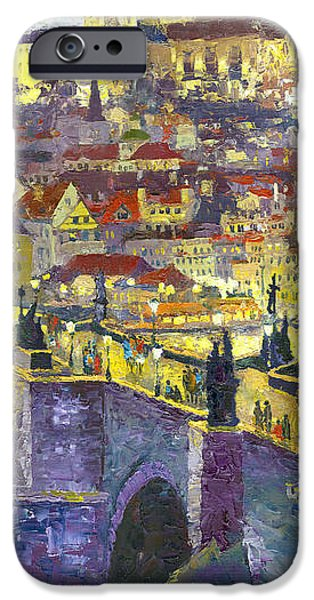Oil On Canvas iPhone Cases - Prague Violet Panorama Night Light Charles Bridge iPhone Case by Yuriy Shevchuk