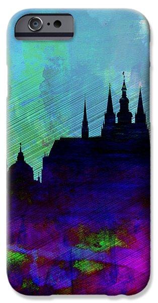 Prague Digital iPhone Cases - Prague Watercolor Skyline iPhone Case by Naxart Studio