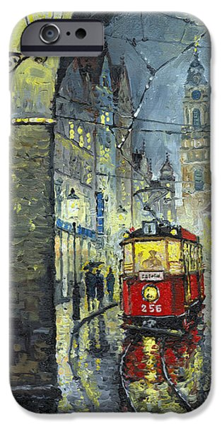 Buildings iPhone Cases - Praha Red Tram Mostecka str  iPhone Case by Yuriy  Shevchuk
