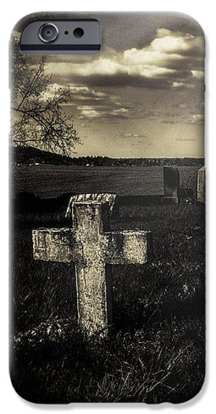 Headstones iPhone Cases - Prairie Graves iPhone Case by Jean OKeeffe Macro Abundance Art