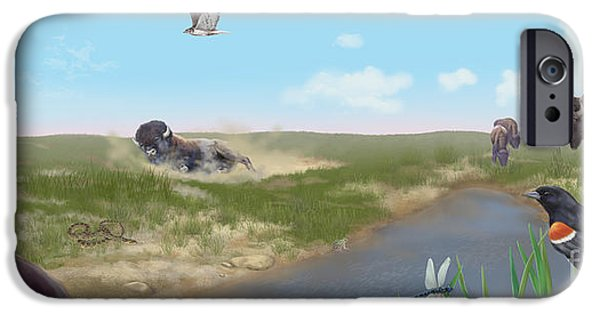Coyote Art iPhone Cases - Prairie Scene With Bison iPhone Case by Carlyn Iverson