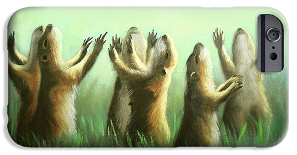 Dogs Digital Art iPhone Cases - Praising Prairie Dogs iPhone Case by Anthony Falbo