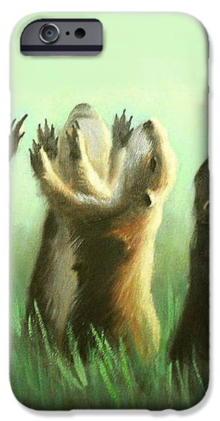 Praising Prairie Dogs iPhone Case by Anthony Falbo