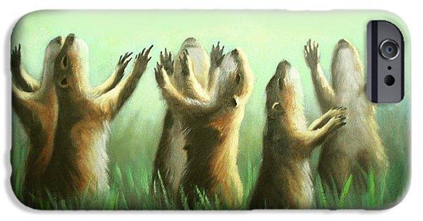 Praising Prairie Dogs Metal Prints iPhone Cases - Praising Prairie Dogs iPhone Case by Anthony Falbo