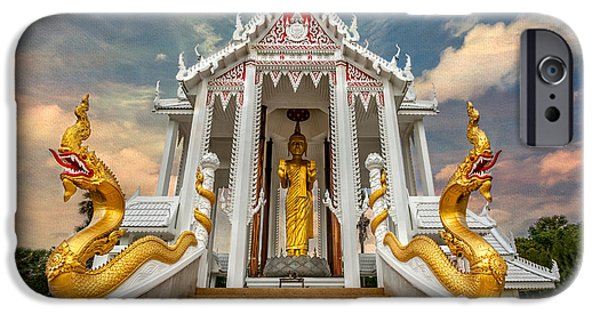 Buddhism Digital iPhone Cases - Pranburi Temple iPhone Case by Adrian Evans