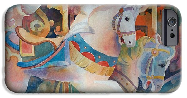 Carousel Horse Paintings iPhone Cases - Prancing Ponies iPhone Case by Sue Kemp