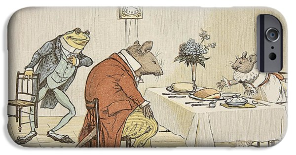 Tea Party iPhone Cases - Pray Miss Mouse will you give us some beer iPhone Case by Randolph Caldecott