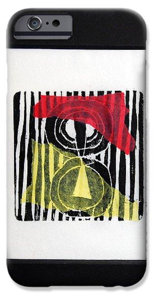 Printmaking iPhone Cases - Prayer Flag - I iPhone Case by Alexandra Jordankova