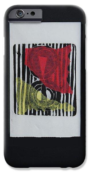 Printmaking iPhone Cases - Prayer Flag - II iPhone Case by Alexandra Jordankova