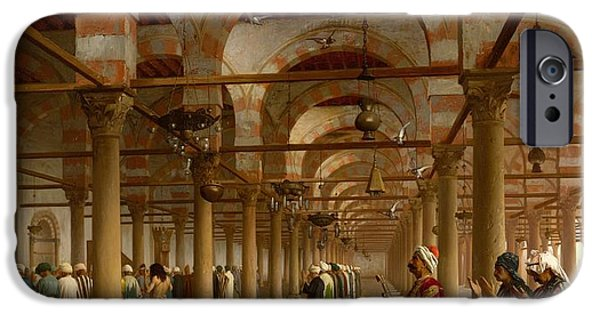 Gerome iPhone Cases - Prayer in the Mosque iPhone Case by Jean-Leon Gerome