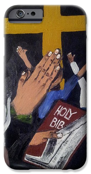 Bible Tapestries - Textiles iPhone Cases - Prayer is the key iPhone Case by Barbara Stevens