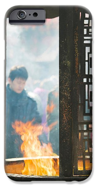 Buddhist iPhone Cases - Prayer Offerings And Incense iPhone Case by Panoramic Images