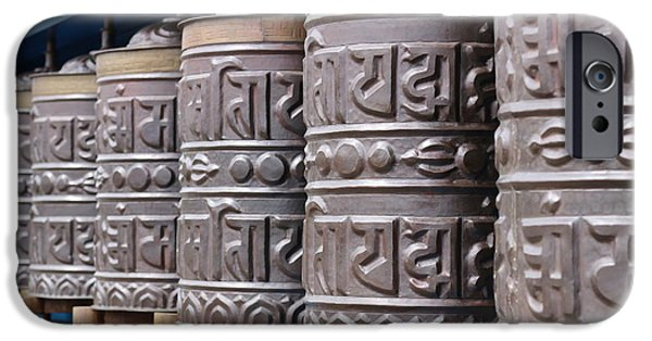 Tibetan Buddhism iPhone Cases - Prayer Wheels 1 iPhone Case by Shakti Chionis